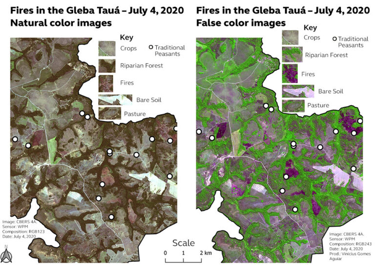 Fires in the Gleba Tauá on July 4, 2020.
