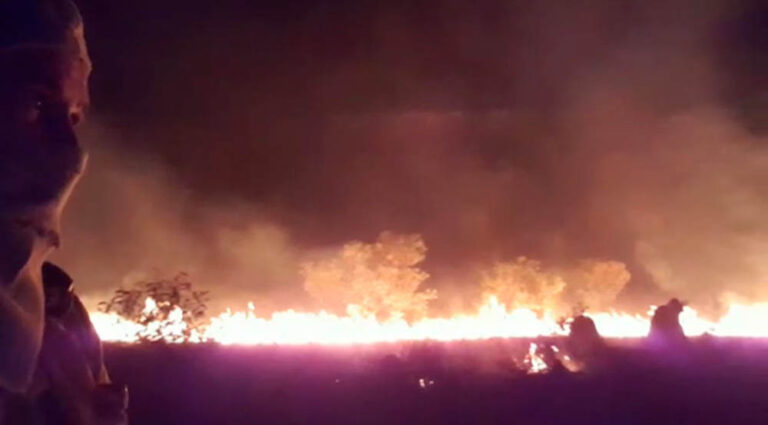 Reproduction of video recorded by a firefighter on September 20, 2020 showing a fire in Mata do Mamão.