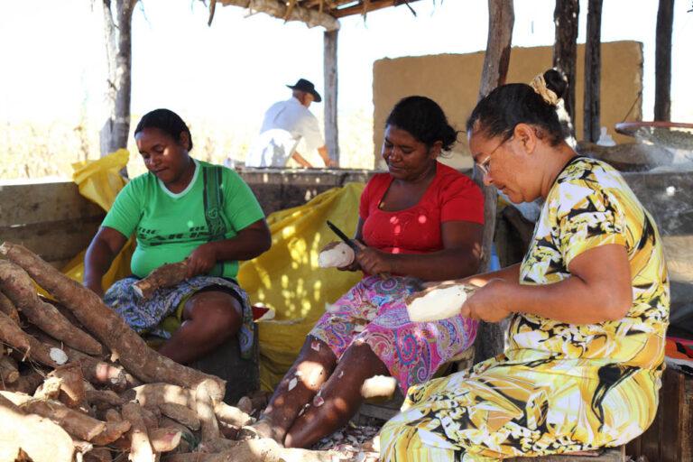 Women peeling cassava at their flour mill